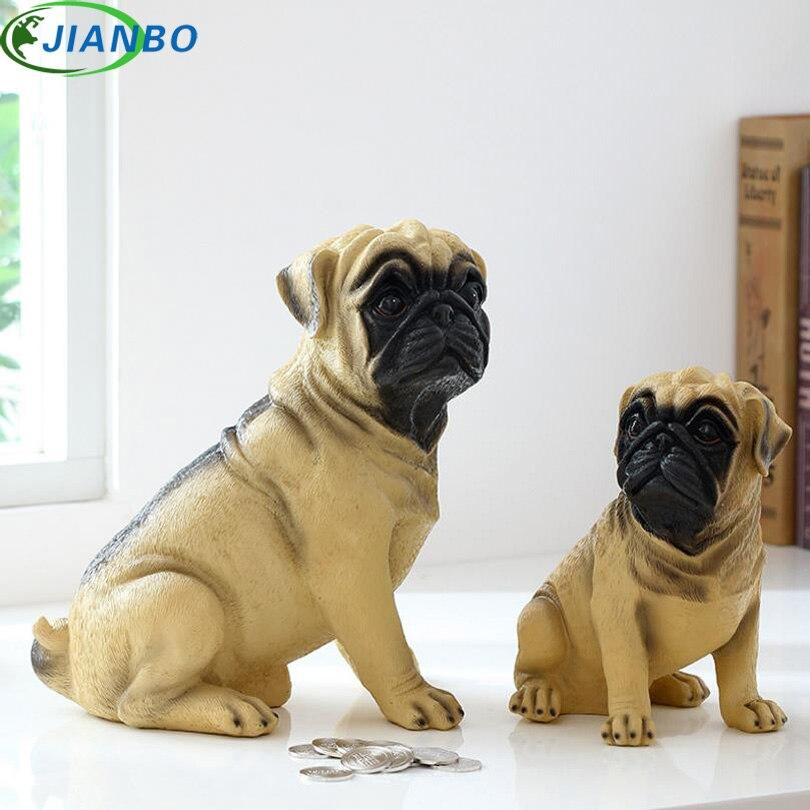Exquisito Michief Pug Dog Save Coin Money Box Life Cute Dog Piggy Bank ornamento de escritorio de alta calidad decoración de resina regalo para amigo