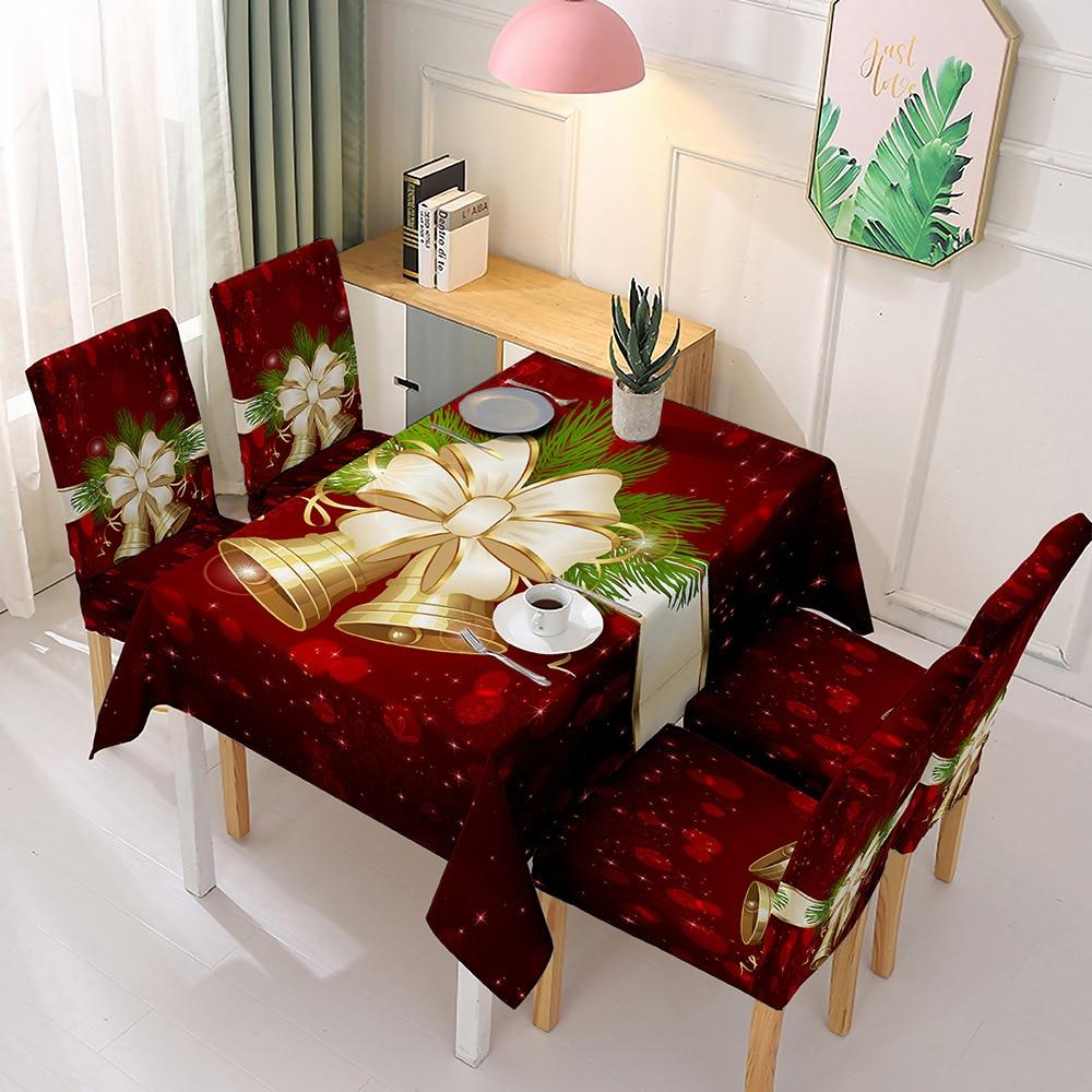 Mantel navideño impermeable y cubierta elástica para silla Santa Claus mantel Rectangular para mesa de comedor para decoración de fiestas y eventos