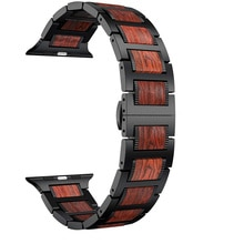 Wood Straps For Apple watch band 44mm 40mm 42mm 38mm Red Sandalwood+Stainless steel bracelet band iW