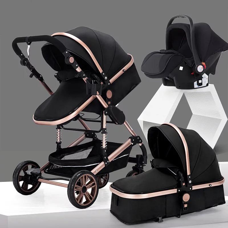 Baby Stroller 3 in 1,Portable Baby Carriage,Fold Pram,Aluminum Frame High Landscape Stroller,for Newborn Baby trolley car seat