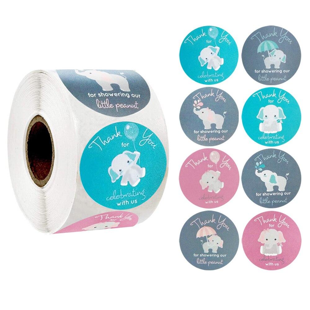 500 Uds./rollo 8 estilos bonitos elefantes sello de Gracias pegatina etiqueta Scrapbook pegatina decorativa hecha a mano DIY adhesivo de papelería