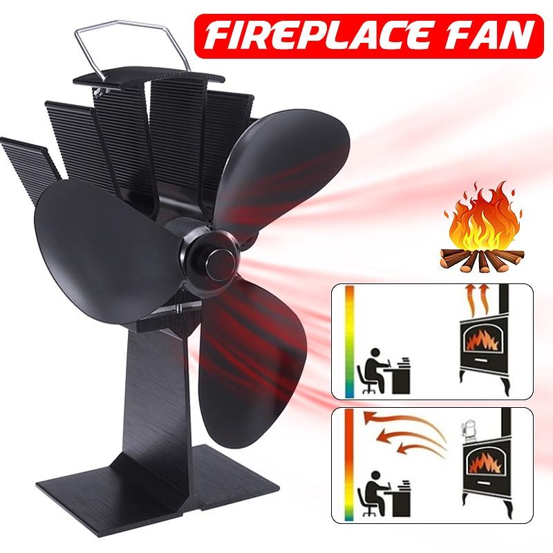 Fireplace Fan 3 Blades Stove Fan Heat Powered Wood Burner Eco Friendly Quiet Heat Distribution Home Efficient Stove Fan
