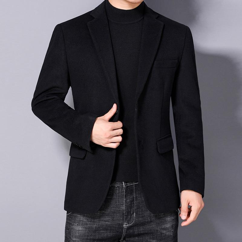 خريف شتاء رجل صوف بليزرات أسود أزرق كحلي داكن جمل صوف مزيج جاكيت بدلة محززة ياقة تصميم ذكي ملابس غير رسمية