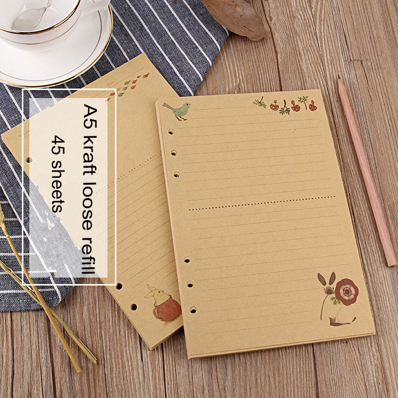 AliExpress - Sharkbang 45 Sheets Kraft A5 Loose Notebook Refill Spiral Binder Index Inside Page Monthly Weekly To Do List Paper Stationery
