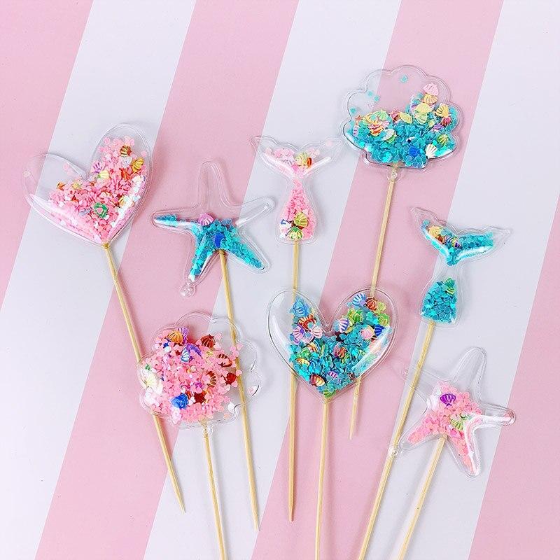 1 pçs glitter bling fada pvc sereia coroa bolo toppers coração estrelas cupcake toppers para casamentos festa de aniversário decoração do bolo