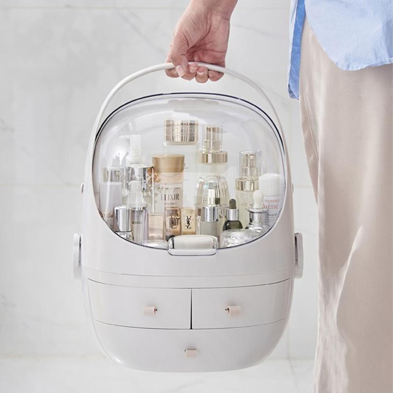 البلاستيك مخزن للمكياج صندوق المحمولة منظم أدوات التجميل كبير يشكلون حاوية الحمام حقيبة للتخزين سطح المكتب النثرية
