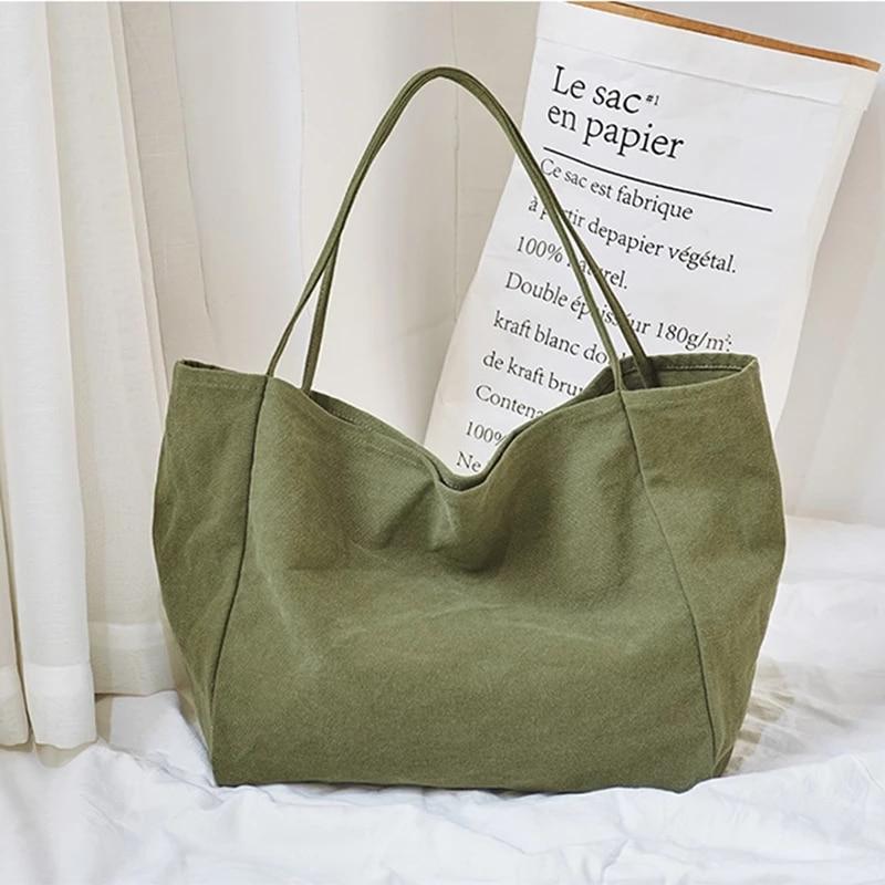 Large Capacity Canvas Bag for Women Foldable Shopping Bag Soild Big Tote Environmental Shopping Shoulder Bag for Girls Handbag