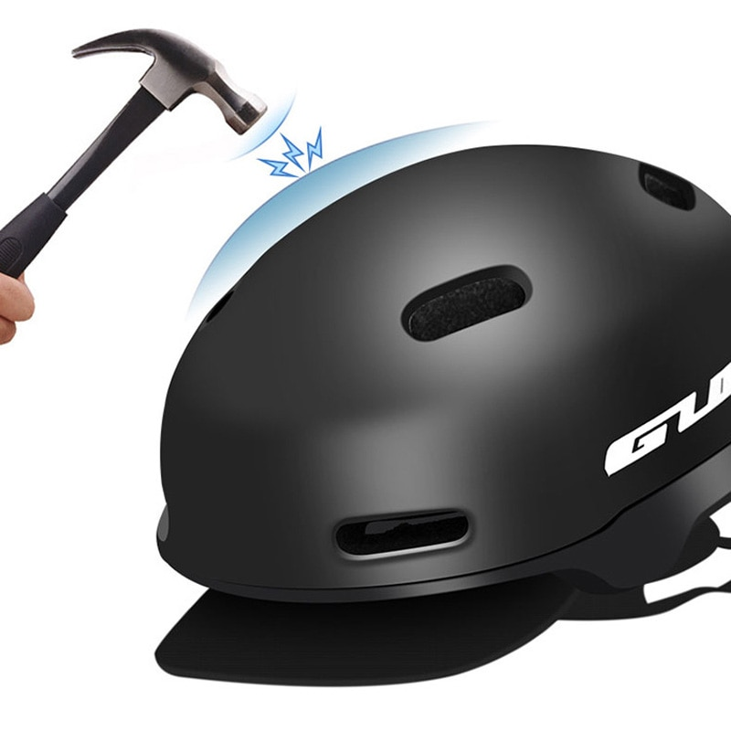 GUB CITY PRO-Casco PC + EPS de ocio urbano, de 54-58cm, color negro o naranja, accesorios para bicicleta