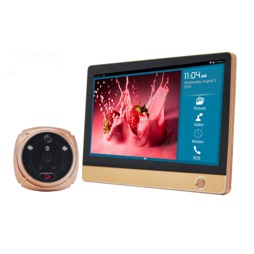 """7"""" LCD Screen AI Face Recognition GSM 1080P Camera WiFi Video Phone Call 2-way Audio Wireless Door Viewer Doorphone SD SIM Card enlarge"""