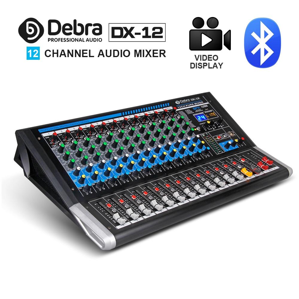 DX-12 Audio Debra table de mixage Audio 12 canaux contrôleur dj carte son avec effet 24 DSP prise USB Bluetooth XLR entrée Aux