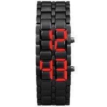 New Men's Lava Watch Iron Samurai Metal Bracelet LAVA Watch LED Digital Watch Hour Ms. Electronic Wa