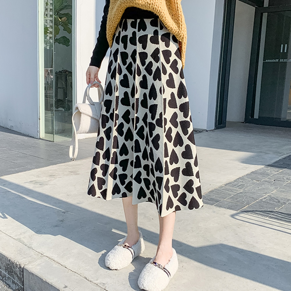 ¡Novedad! Falda de tejido cálido de invierno para Mujer, Falda plisada a media pierna a la moda Vintage con forma de corazón, Faldas coreanas para Mujer
