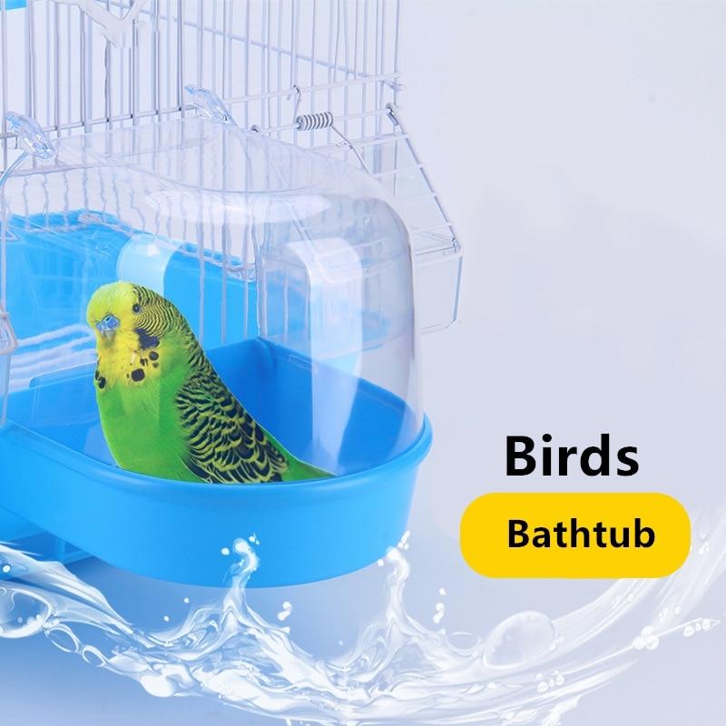 1Pcs Plastic Bird Water Bath Box Bathtub Shower Box Case Parrot for Parakeet Finch Pet Cage Hanging