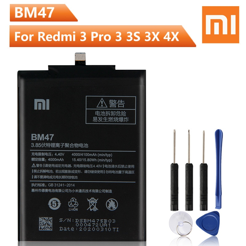 Xiao Mi Original BM47 Battery For Xiaomi Redmi 3 3S 3X Redmi3 4X Pro BM47 Genuine Replacement Phone Battery 4100mAh + Free Tools enlarge