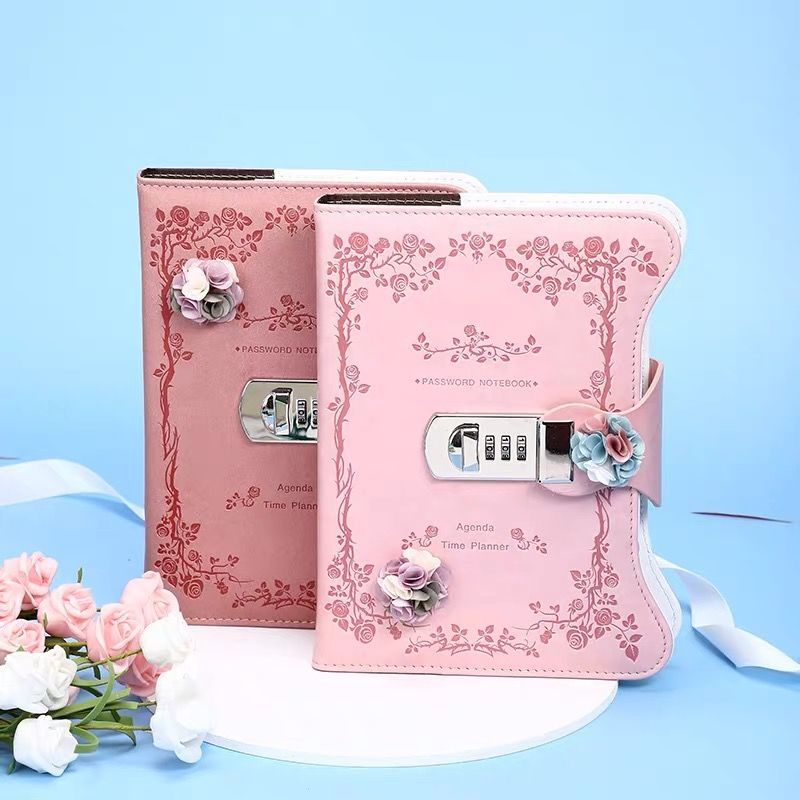 Password book with lock girl diary student art creative notebook classmates stationery thickened hand book journal notebook secret notebook ruled journal lined diary with lock creative gift heart lock