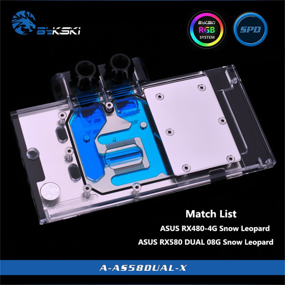 BYKSKI Gpu Water Block Use for ASUS RX580-DUAL-O8G/ ROG-STRIX-RX570-O4G-GAMING RGB Light/ Full Cover Graphics Card Copper Block