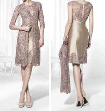 Gold Brown Knee Length Short Mother of the Bride Dresses Lace Jacket Plus Size Wedding Guest Dresses