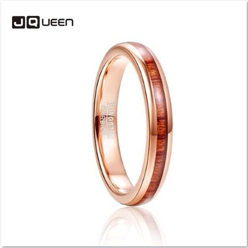 4mm anel de carboneto de aço de tungstênio masculino hawaiian koa incrustações de madeira acabamento polido conforto ajuste rosa anel de ouro