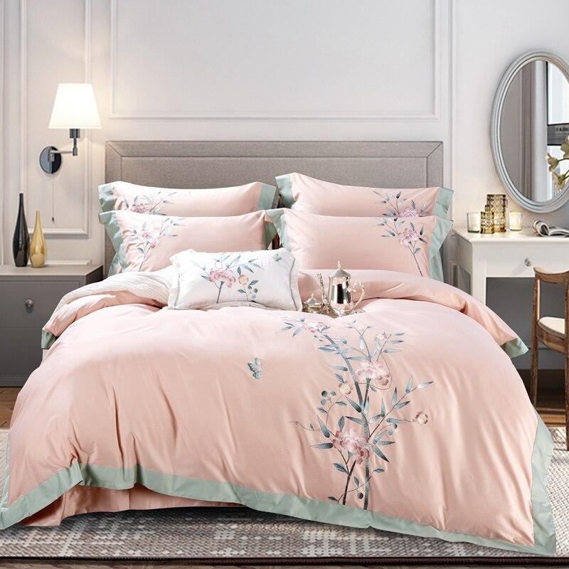 2020 elegante bordado funda nórdica de Reina rey tamaño de algodón egipcio ropa de cama Sets de almohadas cubierta de cama bordado ropa de cama
