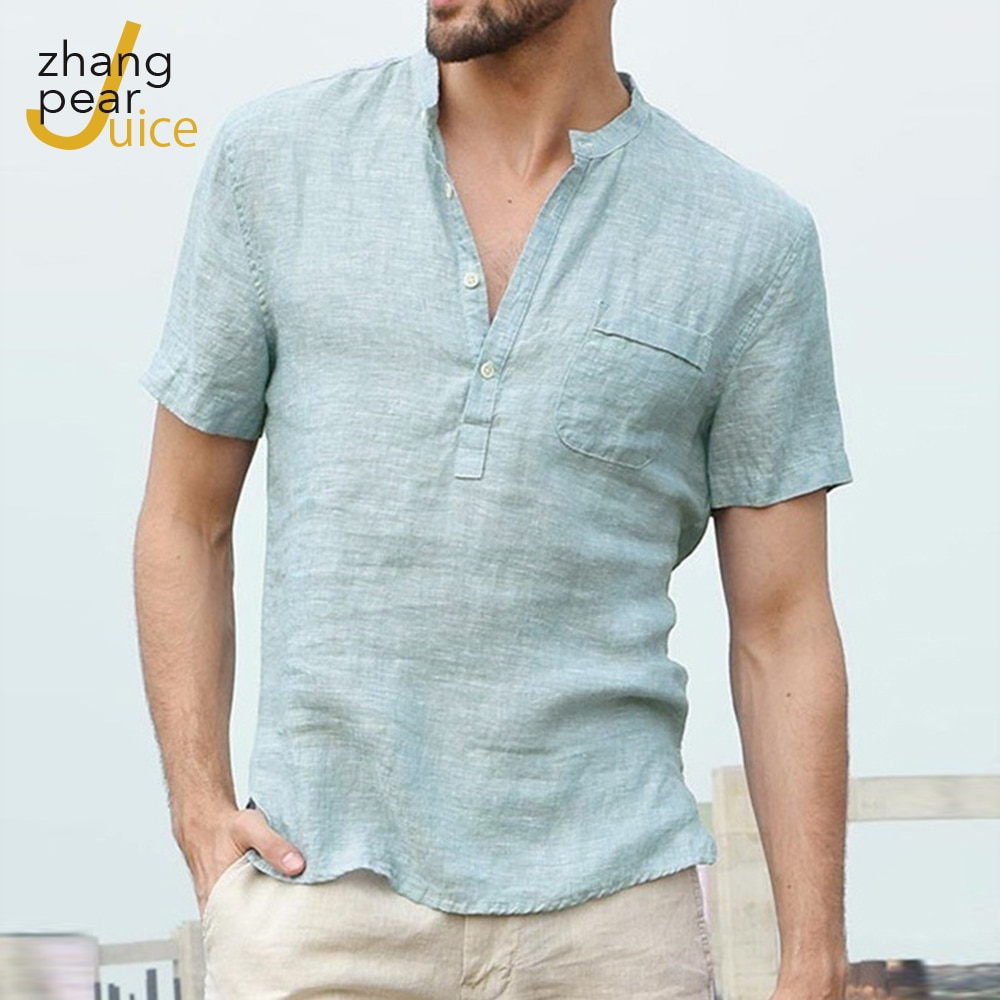 Mens Casual Blouse Cotton Linen Shirt Loose Tops Short Sleeve Tee Spring Autumn Summer Handsome Men