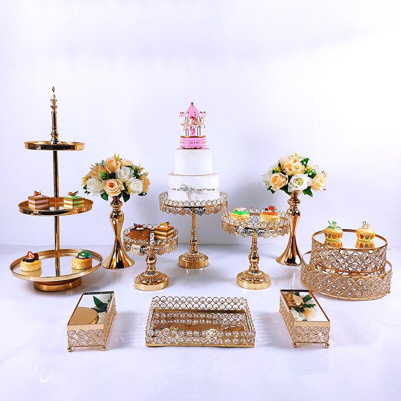 11pcs Crystal Metal Cake Stand Set Acrylic Mirror Cupcake Decorations Dessert Pedestal Wedding Party Display Tray