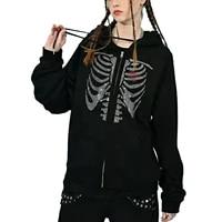 women hooded sweater adults skeleton heart pattern long sleeve cardigan with drawstring pocket black green orange rose red