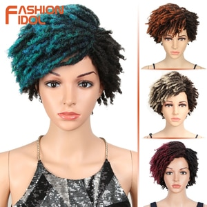 FASHION IDOL Bob Cosplay Wig Afro Kinky Curly Synthetic Wigs For Black Women 10 Inch Blue Wig Heat Resistant Fiber Free Shipping