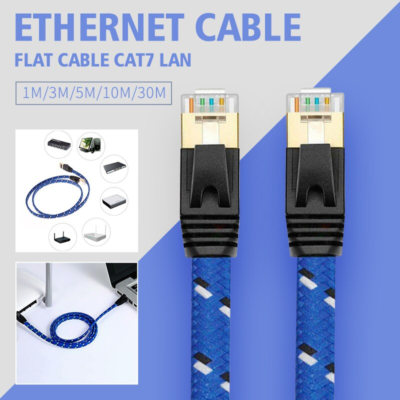Cat7 Ethernet Cable Lan Flat Cable UTP CAT 7 RJ 45 Network Cable 1m 3m 5m 10m 30m Patch Cord Grid Blue Black For Laptop Route