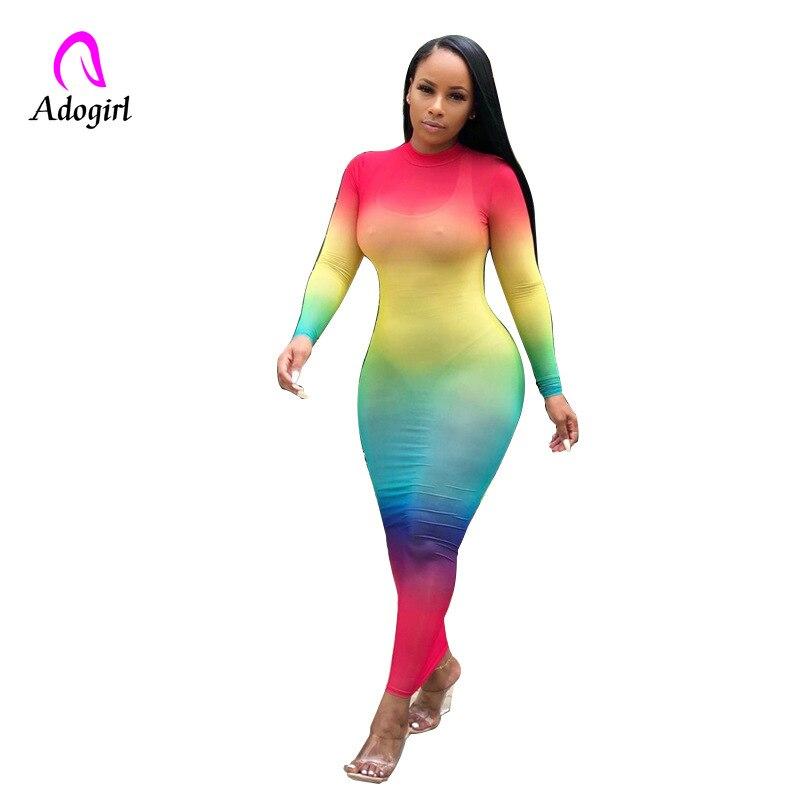 Adogirl Color Block Dress Skinny Long Sleeve Neon Rainbow Maxi Dress Autumn Women Sexy Mesh Sheer See Through High Neck Vestidos