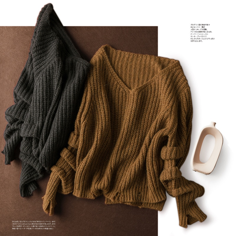 SHUCHAN Loose Pullover V-Neck  Wool Alpaca Blend Winter Tops for Women 2021 Fall Winter  High Street  Loose-fitting white enlarge