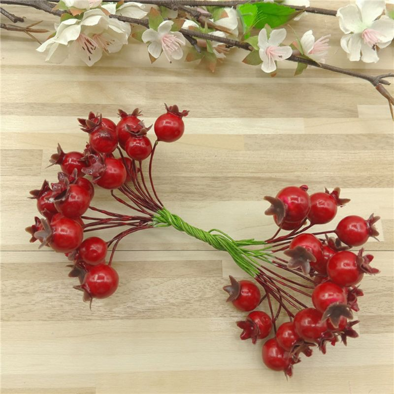 20 piezas hojas artificiales de bayas de acebo guirnalda de Navidad Stem Snow Glitter gitela Graham