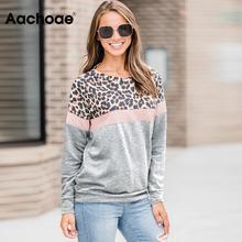 Aachoae 2020 Autumn Sweatshirt Women Fashion Leopard Print Patchwork Hoodie Casual Stripe Long Sleeve Pullover Ladies O Neck Top