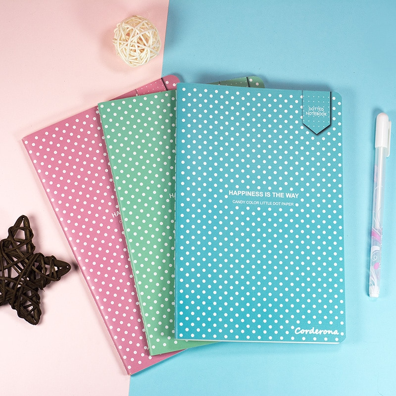 A5 Cute Candy Color Dot Grid Journal Dotted Bullet NotebookSoft Cover Stationery Travel Planner Diary cute candy a5 dotted notebook