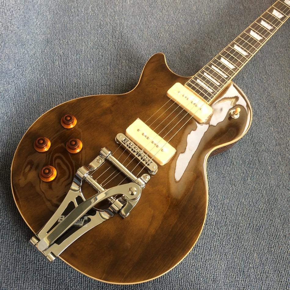 Left hand electric guitar, One piece of body & neck, Frets binding, Tune-o-Matic bridge, tremolo electric guitar