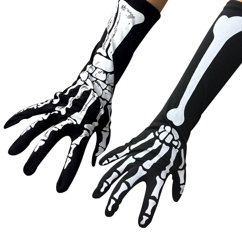 Забавные косплейные рукавицы с закрытыми пальцами длиной до локтя, рукавицы с рисунком призрака, черные, белые перчатки со скелетом, перчат...