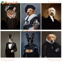 vintage suit gentleman funny pet dog animal wall pictures for living room decor nordic poster wall art canvas painting unframed