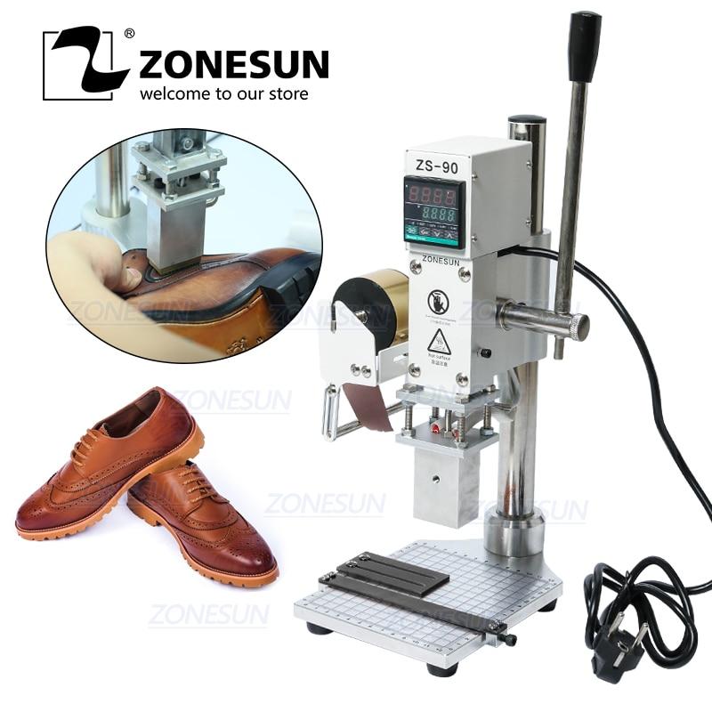 ZONESUN-آلة الختم الساخن للعلامة التجارية ، آلة النقش ، الضغط الساخن والبارد للأحذية الجلدية