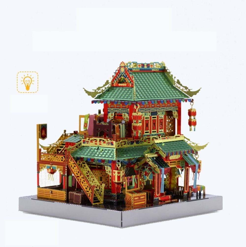 MU Mercery Store architektura 3D metalowe zestawy modeli DIY montaż Puzzle laserowo wycinane układanki budowlane zabawki prezent YM-N079-F