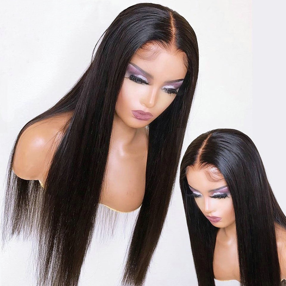13x1 Straight Wig T Part Middle Lace Human Hair Wigs Pre Plucked Wig With Baby Hair Lace Front Wig Brazilian Remy Hair Wig
