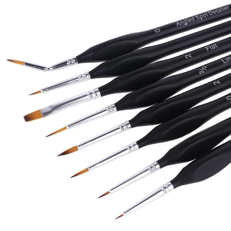 8pcs/set Professional Nylon Brush Fine Hand Painted Hook Line Pen Watercolor Oil U4LD enlarge