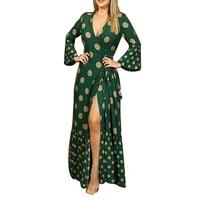 split long sleeve deep v neck maxi autumn womens dress 2021 floor length sexy floral bandage elegant ladies party robe dresses