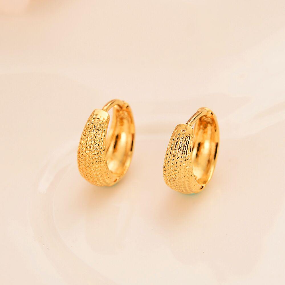 18 k ouro maciço GF Círculo brinco de argola exageradas brincos pequenos do vintage elástica camarão fivela masculino feminino brincos presentes