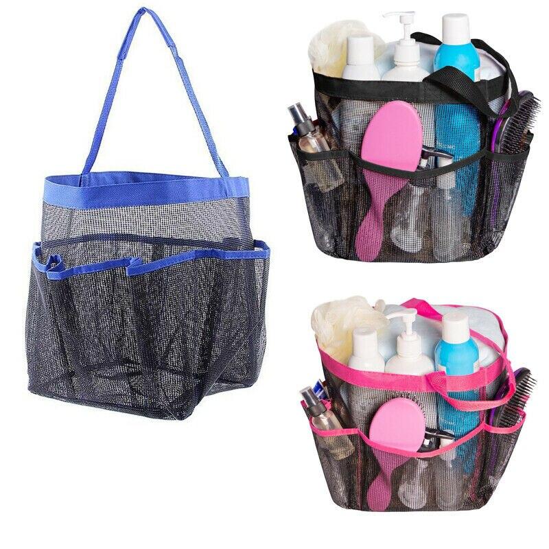 Yeni varış duş rafı örgü 8 cep taşınabilir saklama torbaları tutucular hızlı kuru seyahat Tote taşıma kolu spor yurt durumda konteyner