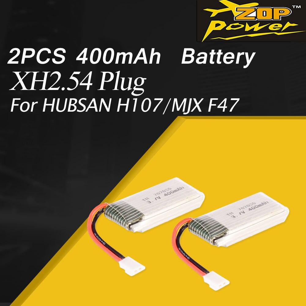 2 uds 3,7 V 400mAh li-po batería para HUBSAN H107/MJX F47/JJR/C F180 RC Drone Quadcopter aviones UAV accesorios de la parte