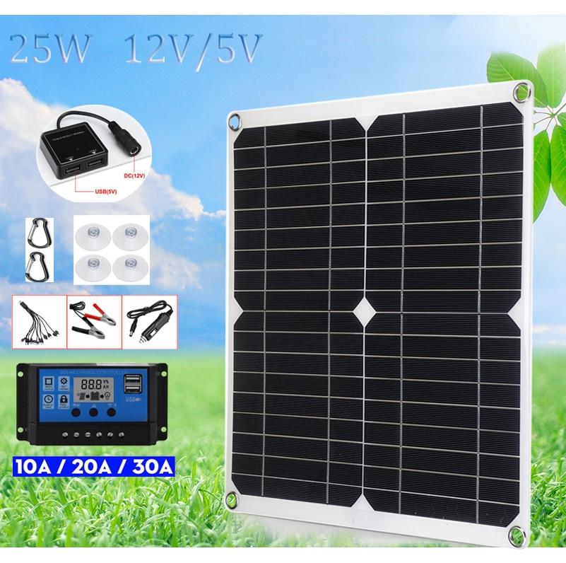 5v 18V solar panel 25w 50w battery 12 volt portable monocrystalline cell solar plate usb charger mobile car battery RV