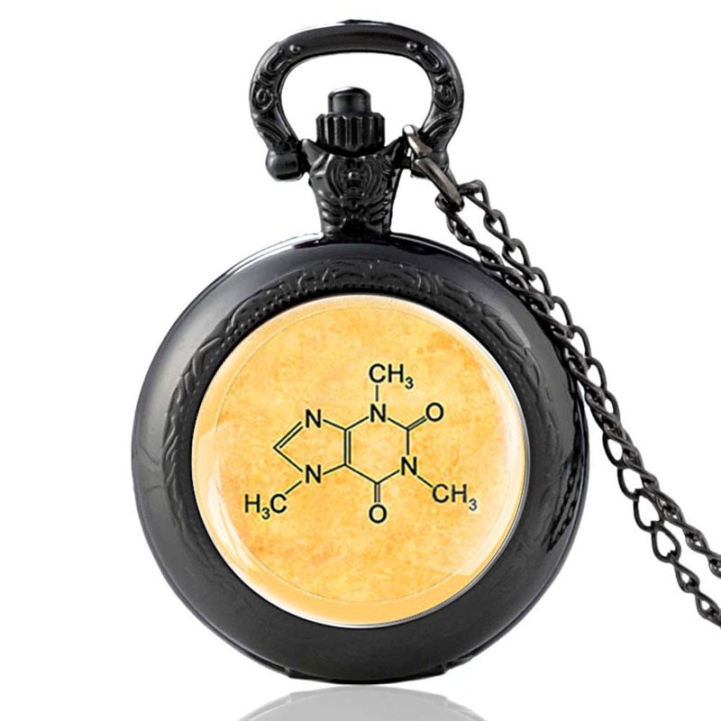 Reloj de pulsera de cuarzo con diseño de ecuaciones químicas, único reloj de bolsillo Vintage para hombre, de las mujeres COLLAR COLGANTE, cadena, reloj de horas