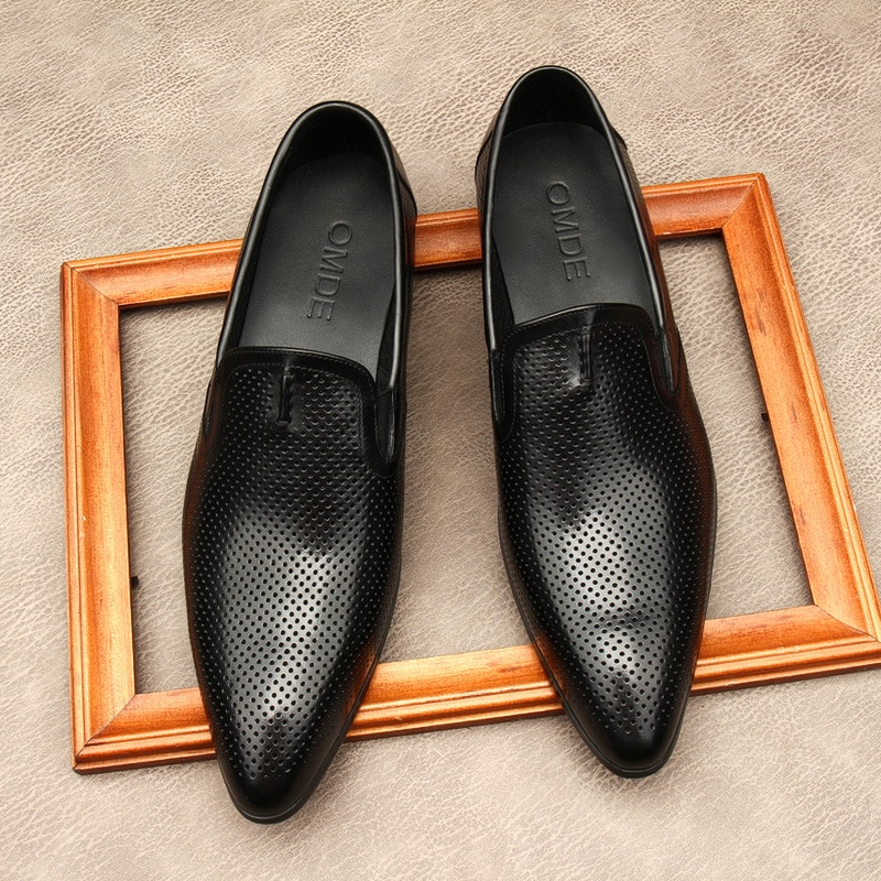 Genuine Leather Hollow Men Loafers Shoes Party Wedding Ship On Dress Shoes Casual Classic Business Office Footwear For Male