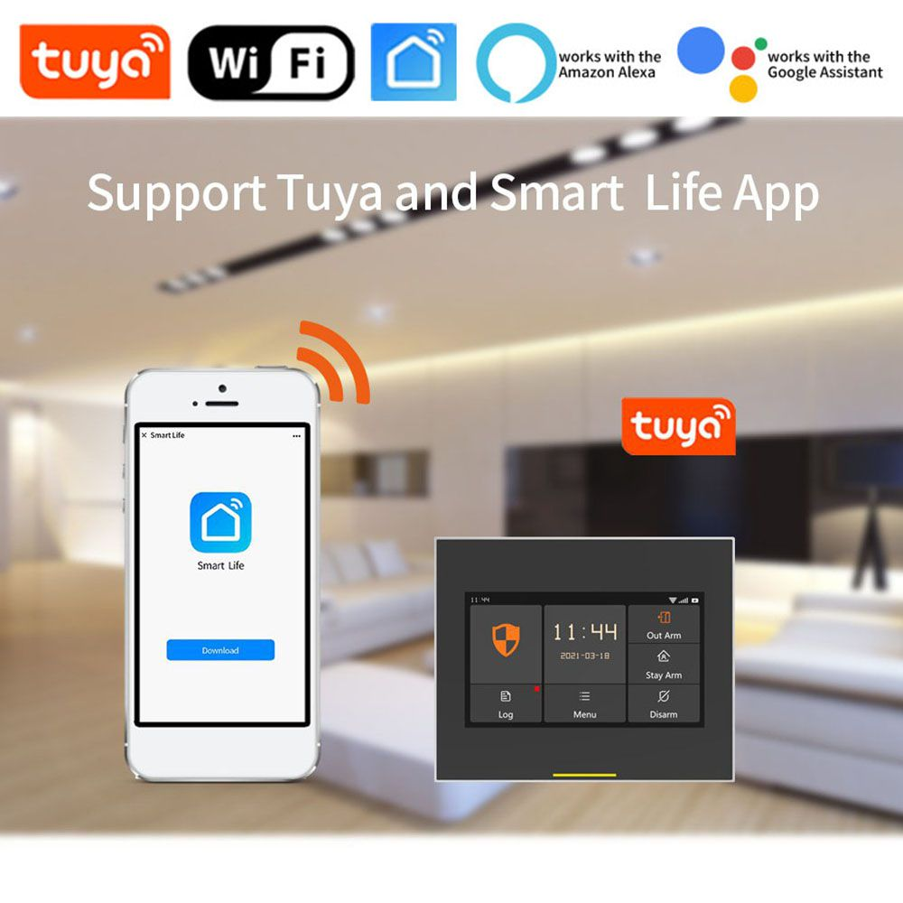 Staniot GSM & 4G Version Tuya Intelligent Wireless WiFi House Security Alarm System Kits Compatible with Alexa and Google Home enlarge