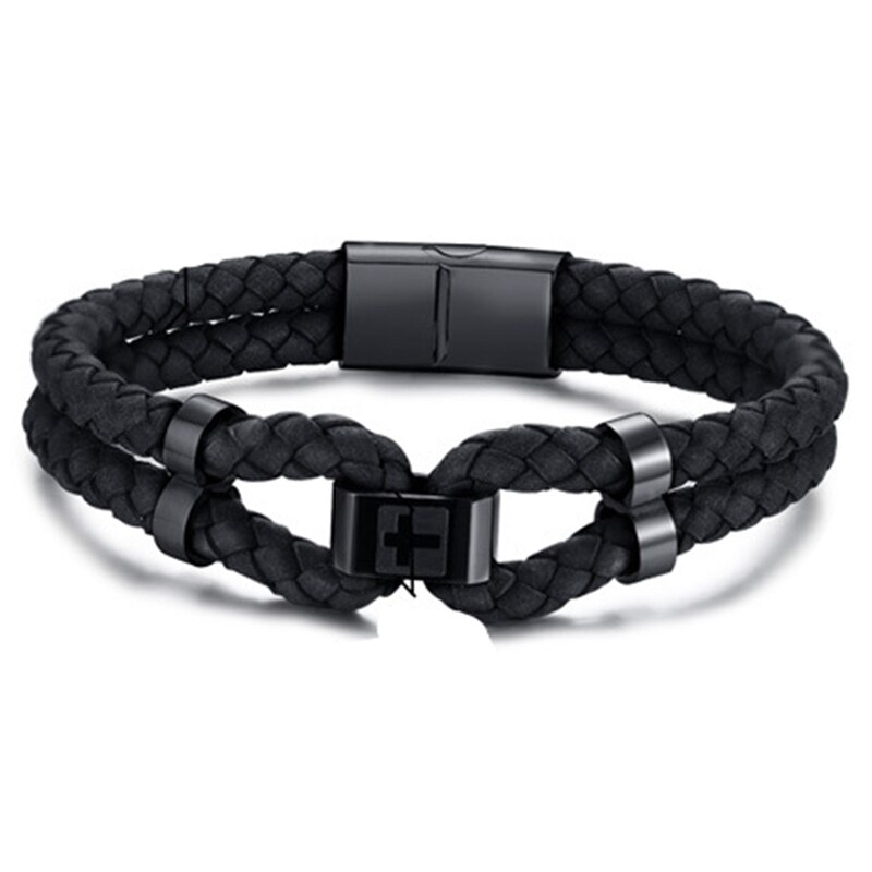 Hip-Hop Cross Forbearance Sign MenS Hand Rope Double-Layer Titanium Steel Bracelet