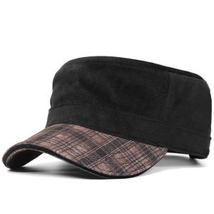 Classic Plaid Cotton Velvet Navy Hat Men Autumn and Winter Leisure Flat Top Hat Middle-aged Big Size Baseball Cap 56-62cm